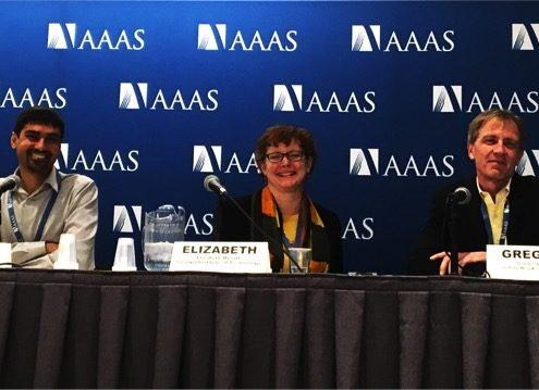 Shwetak Patel, Elizabeth Mynatt, and Gregory Hager at AAAS in 2017