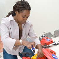 Square Ayanna Howard working on robots