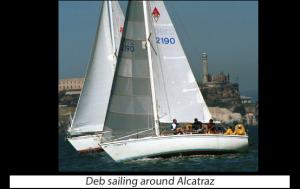 Deb Agarwal sailing around alcatraz