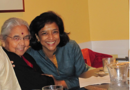 Sandhya with her mother during her mom's 80th birthday celebration