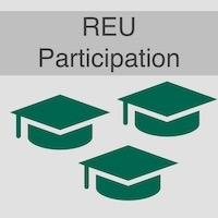 "Text reads ""REU Participation"" with 3 graduation caps underneath"