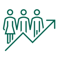Image with a trend line overlayed on a silhouette of three people.
