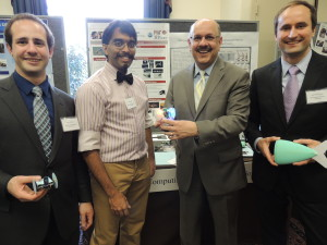 From left to right: Joseph DelPreto, Ankur Mehta, Farnam Jahanian (Director of CISE at NSF), and Robert Katzschmann.