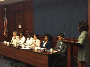 CRA-W board member Rebecca Wright addresses the Diversity in Tech Caucus.