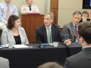 Greg Hager (center), chair of the Computing Community Consortium, speaks at the Congressional Robotics Caucus Hill event marking 5 years of the NRI.