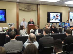 Rep. Mike Doyle (D-PA), Co-Chair of the Congressional Robotics Caucus, delivers some remarks to the audience.